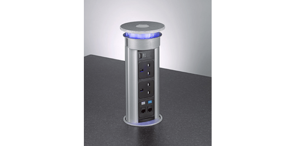 Pop-up electrical socket for kitchen worktops