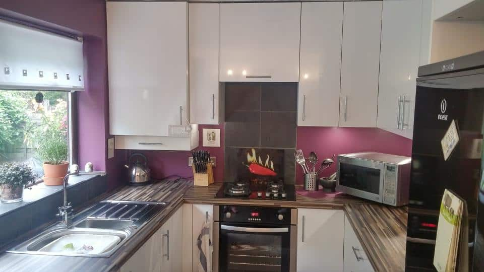 Wide view of Detail of John Maddocks' new fitted kitchen in Oldham