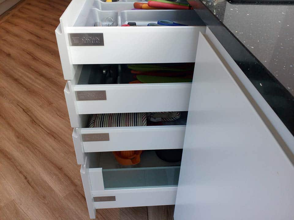 Close-up of drawers installed in a kitchen in Worsley