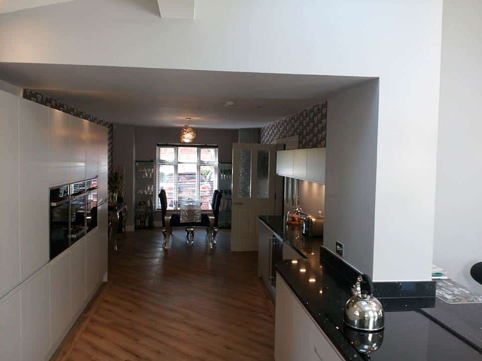 Long view of new kitchen in Worsley